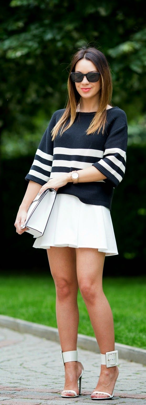 Stripes Sweater , New look Skirt , White Clutch Purse