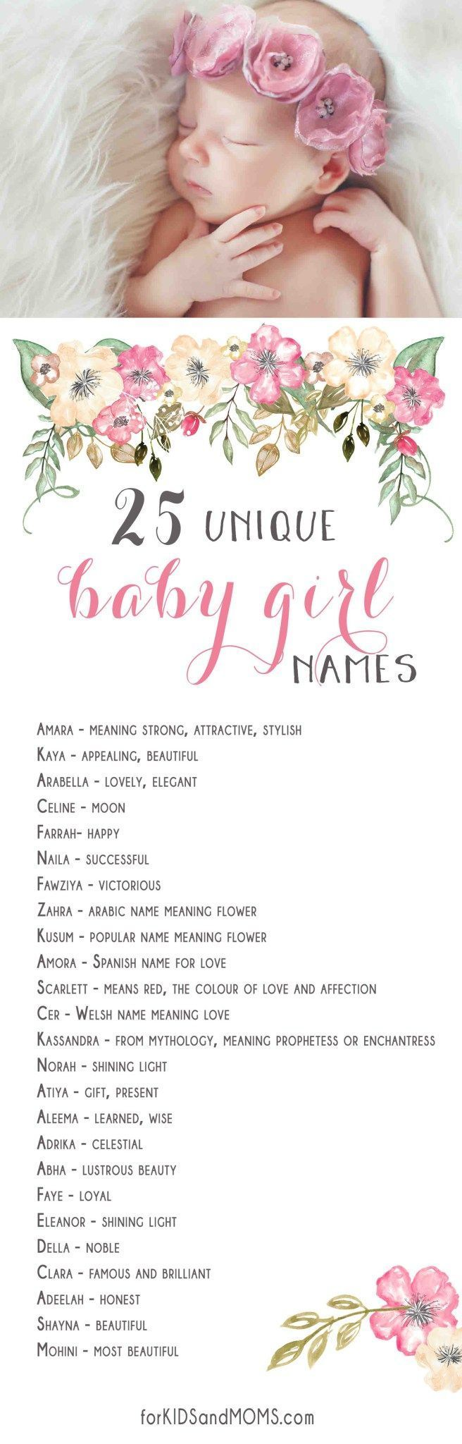 25 Unique Baby Girl Names and Meanings List http://forkidsandmoms.com