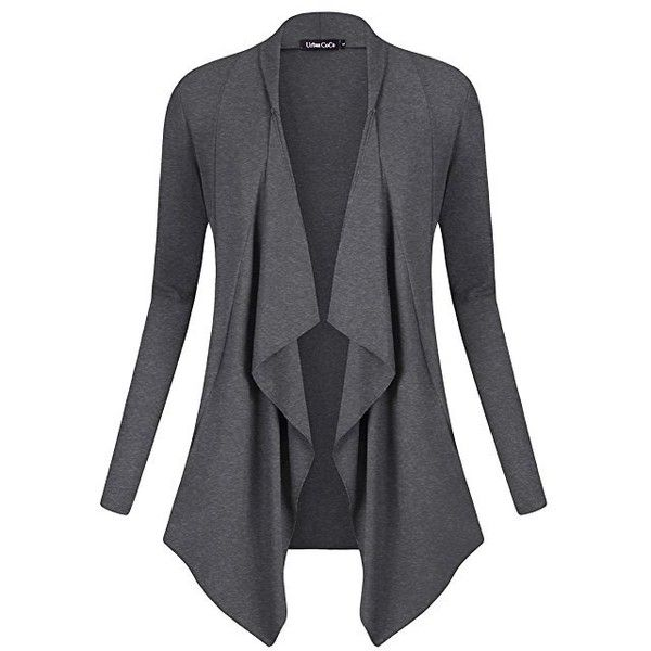 Women's Drape Front Open Cardigan Long Sleeve Irregular Hem (£13) ❤ liked on Polyvore featuring tops, cardigans, drape-front cardigan, long sleeve open front cardigan, long sleeve cardigan, drape front top and long sleeve tops