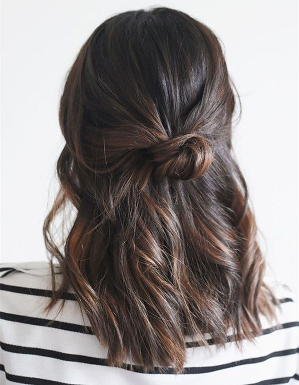 This simple half-up bun with dark brown highlight is so beautiful