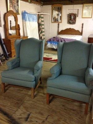Green High Back Chairs · High Back ChairsYard SalesRestoring Furniture