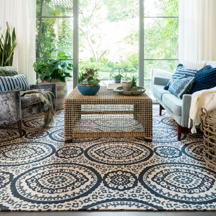 The Brooke rug is beautifully woven of cotton and jute.  Uniquely constructed, the geometric patterns are printed on top of the flat weave creating a crisp clean look.