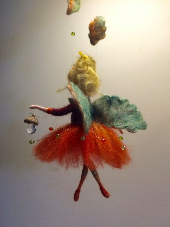 Needle felted fairy, Waldorf inspired, Wool doll, Felted fairy, Autumn, Orange, Home decor, Art doll, Doll miniature, Gift, Children room