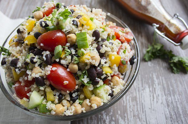 Healthy Bean and Bulgur Salad  Bulgur is a whole wheat grain that has been cracked and partially pre-cooked. It's a naturally high-fiber, low-fat, low-calorie ingredient that makes perfect high-protein dishes without excess fat or carbs.This salad is great alone for a vegetarian dish, however, you can add additional protein. You'll love the versatility this dish offers and the fresh, crisp taste of this nutrient-dense meal!