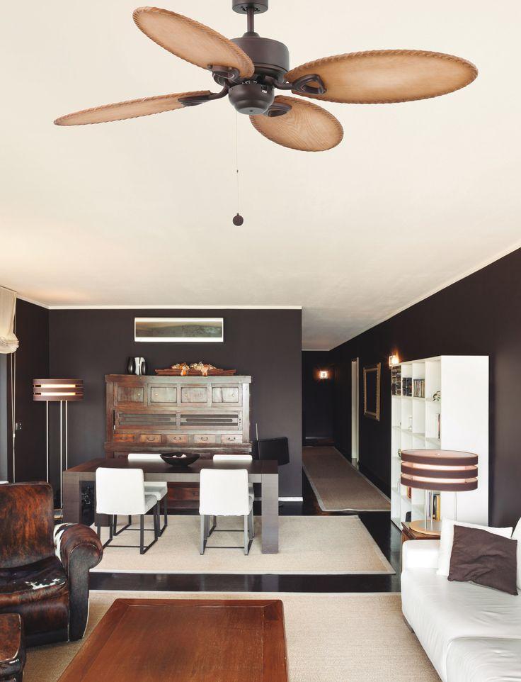 LOMBOK ventilador de techo marrón de estilo colonial
