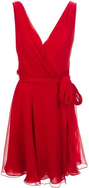 Ralph Lauren Blue Label Red Waist Tie Wrap Dress
