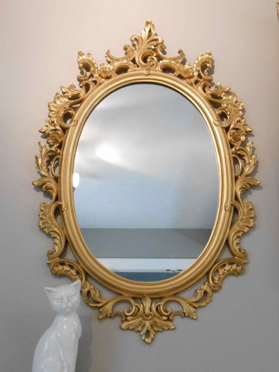 Framed Oval Mirror Ornate Gold