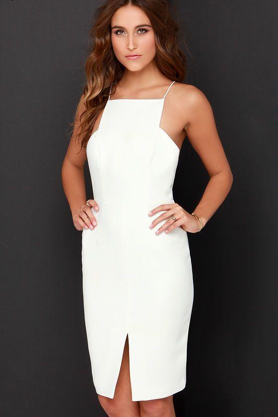 Vestido recto blanco