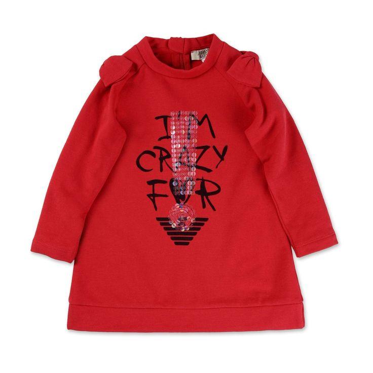 VESTITO ARMANI BABY,    Vestito bimba di Armani Baby in tinta unita di colore rosso, manica lunga, girocollo, zip nascosta sul retro, applicazione su spalline, stampa frontale con paillettes applicate. Abbigliamento da bambina di Armani Baby.  http://www.abbigliamento-bambini.eu/compra/vestito-armani-baby-2742245