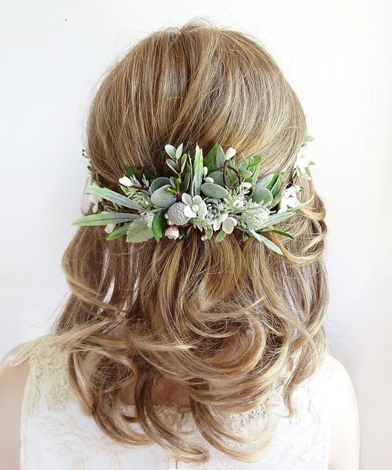 Wedding flower comb with babys breath hair rose Bridal headpiece eucalyptus