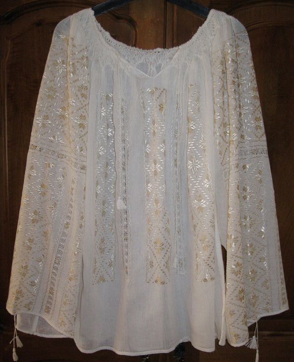 Romanian peasant blouse - 16 corners stars - silver beige  $139...   this blouse in one size: blouse length : 63 cm (24. 8 inches ) and around chest : 128 cm(50. 39 inches ). Tie strings at the collar and cuffs.  Size M - L