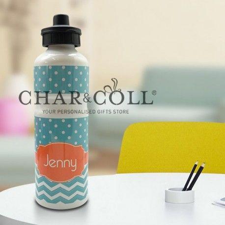 Sport Aluminium Bottle - Chevron and Turquoise