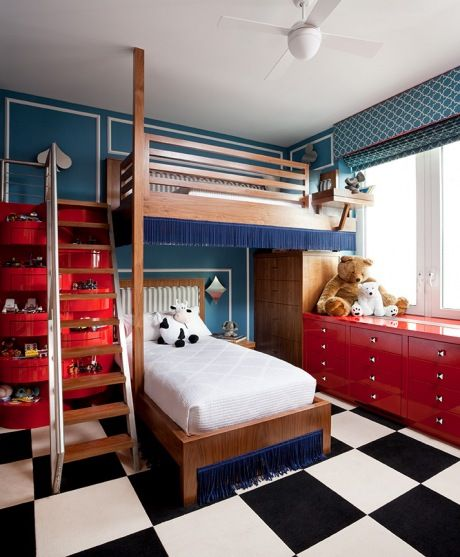 14b Blue Red Black White Checkerboard Floor Kids Room