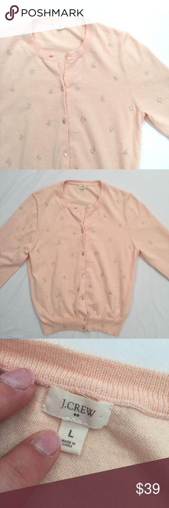 J. Crew blush cardigan with snowflake style beads ASAP J. Crew Factory Sweaters Cardigans