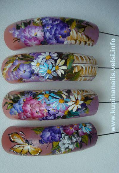 Цветочная композиция на ногтях. Как рисовать на ногтях гибискус.