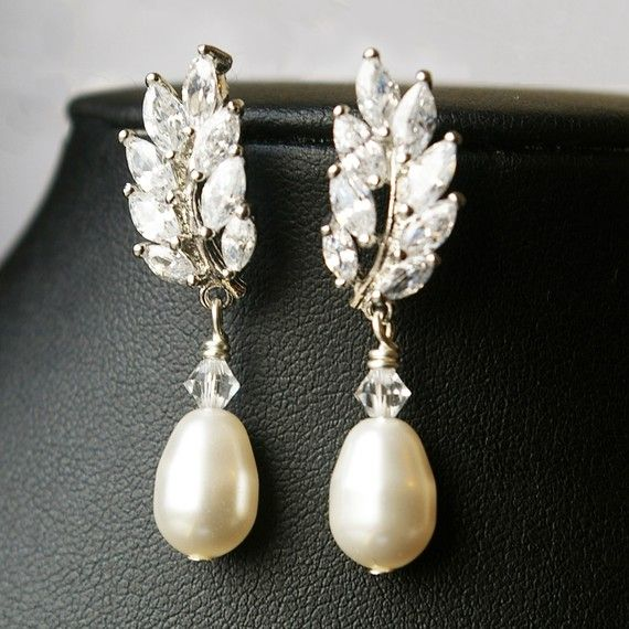 Wedding Bridal Earrings, Swarovski Pearl Bridal Drop Earrings, Rhinestone Leaves Wedding Earring, Vintage Inspired Bridal Jewelry, Blake on Etsy, $65.00