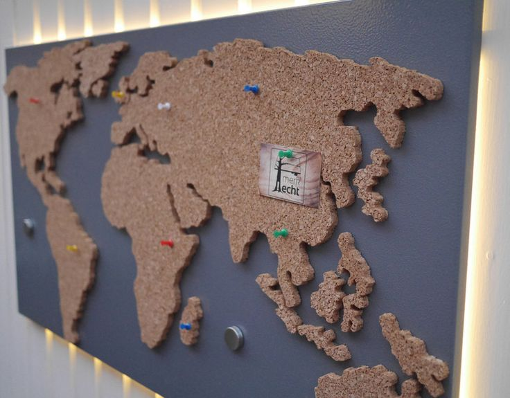 magnetic pin board world map made of cork bulletin board by merk