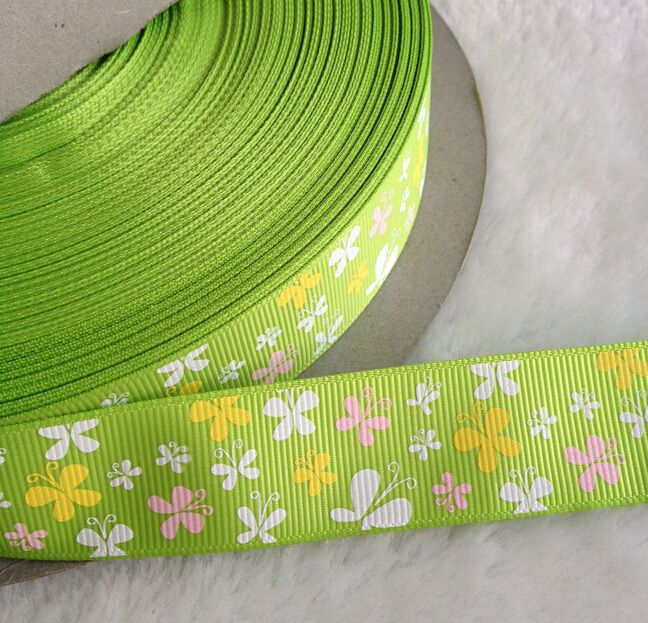 10 ярдов 25 мм ширина зеленый бабочка печати grosgrain ленты одежда волосы diy аксессуары свадебные принадлежности A411