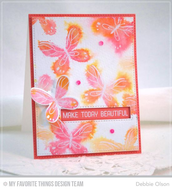 Beautiful Butterflies Stamp Set and Die-namics, Springtime Blooms Stamp Set, Stitched Rectangle Word Windows - Debbie Olson  #mftstamps