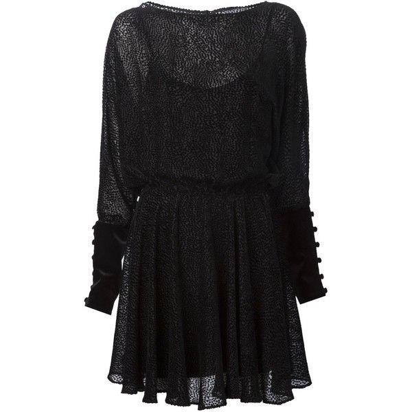 ZAC POSEN 'Sally' dress (7,790 MXN) ❤ liked on Polyvore featuring dresses, vestidos, short dresses, velvet dress, long sleeve polka dot dress, black polka dot dress, black mini dress and long-sleeve mini dress