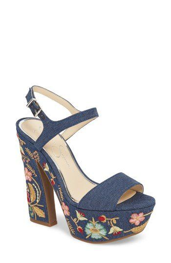 548376982 Floral embroidery brings pretty color and texture to the crisp denim that  clads a mega-tall sandal set on a curvy platform.