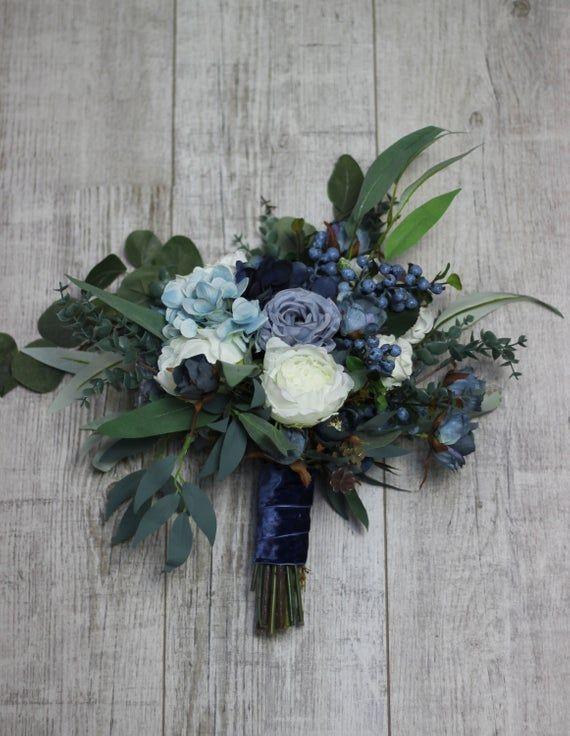 Dusty Blue Bridal Bouquet Faux Bouquet Velvet Wedding Wedding