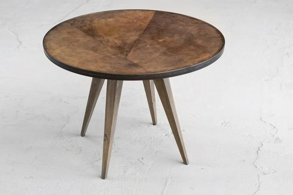 Round sidetable wood and leather design available on our online shop. Design by Vangijs.com  #roundwoodsidetable