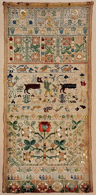 English Band Sampler ~ mid-17th century ~  sampler with bands of flowers,  boxer figures, stags and numerous small animals. Worked in floss silks, missing bottom selvedge.: