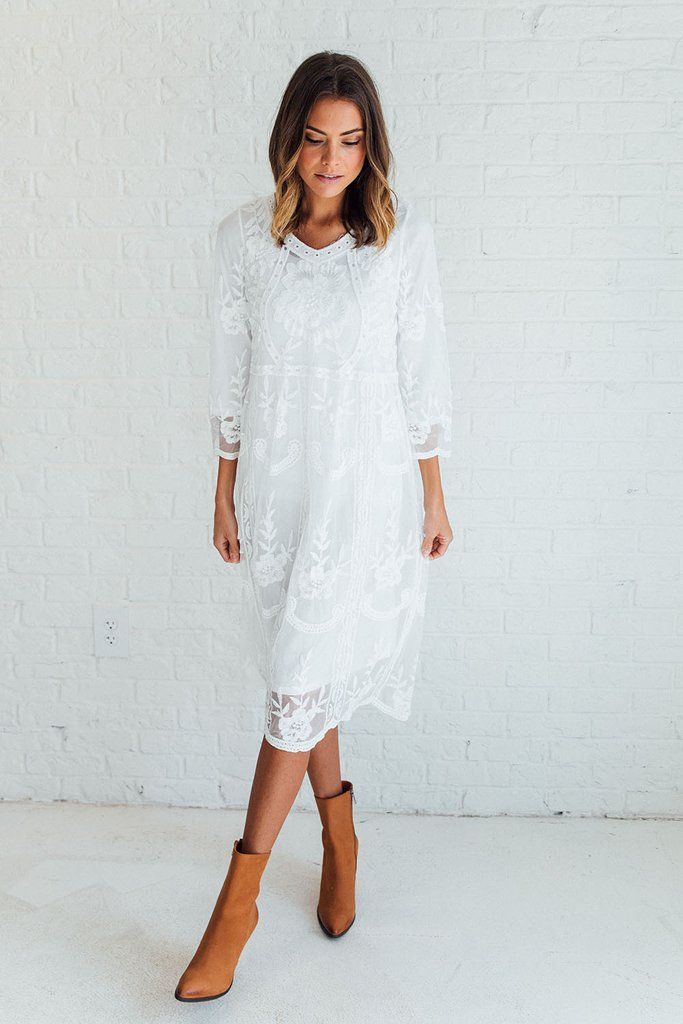 DETAILS: - A sheer floral lace dress with sleeve lining - 3/4 sleeves - Midi slight A-line skirt - Models is wearing a S/M - Bust S/M= 37 in M/L=38 in - Waist S/M= 36 in M/L=37 in - Hip S/M= 38 in M/L