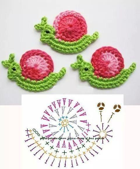 Aplique caracol crochet patron
