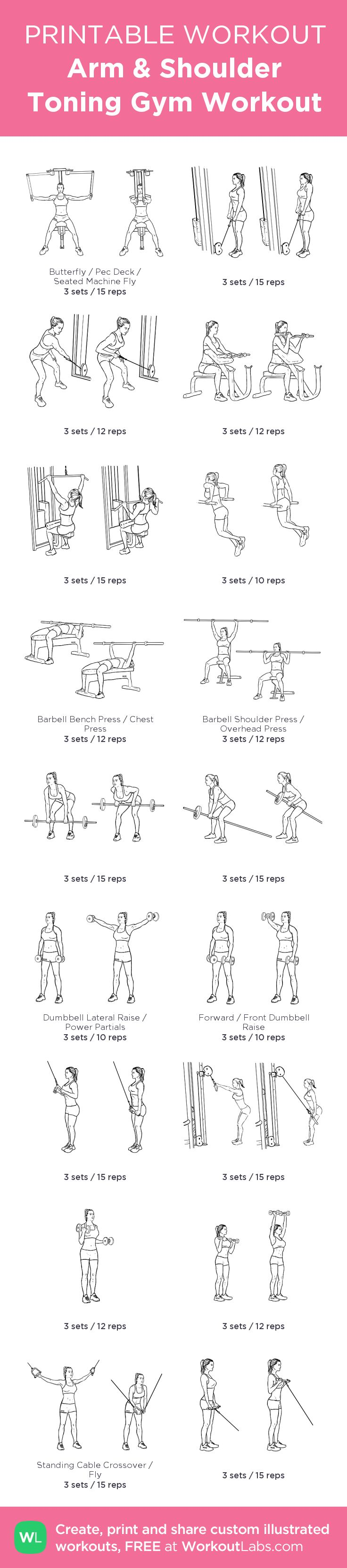 Arm & Shoulder Toning Gym Workout: my visual workout created at WorkoutLabs.com • Click through to customize and download as a FREE PDF! #customworkout
