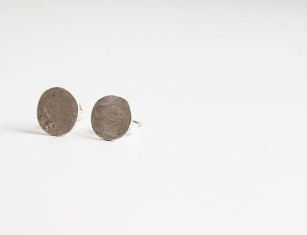 Stud Earrings – Sterling silver studs, Minimal organic earrings – a unique product by notAjewelry on DaWanda