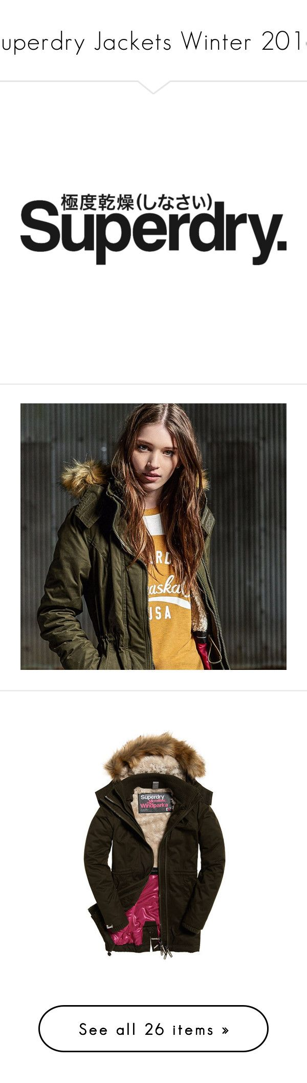 """""""Superdry Jackets Winter 2016"""" by superdry ❤ liked on Polyvore featuring text, drawings, outerwear, jackets, microfiber jacket, superdry, tall jackets, superdry jacket, brown jacket and coats"""