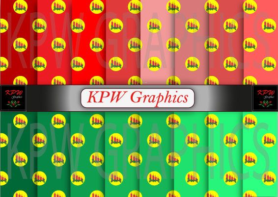 Set of 16 Christmas Digital Papers with Candles by KPWgraphics