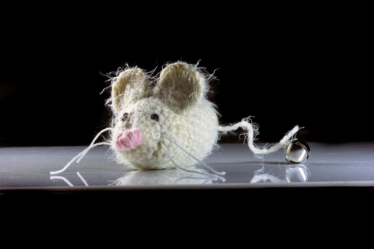 Catnip Toy Mouse, Mouse With Bell, Fuzzy Mouse Toy, Winter White, Crocheted, Pet Toy, Natural Cat Nip, Pet Accent