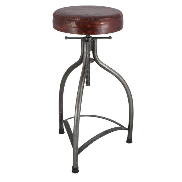 Cooper Leather Amp Metal Adjustable Bar Stool 34 Inch