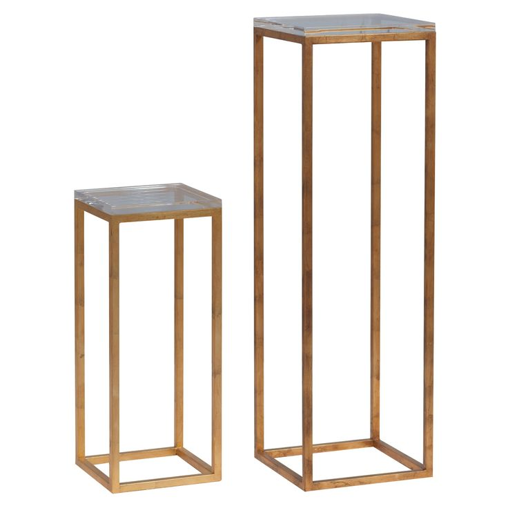 Drake Gold/Lucite Pedestals Set of 2 @Zinc_Door #zincdoor #gold #modern #decor #furniture #table #pedestals #lucite