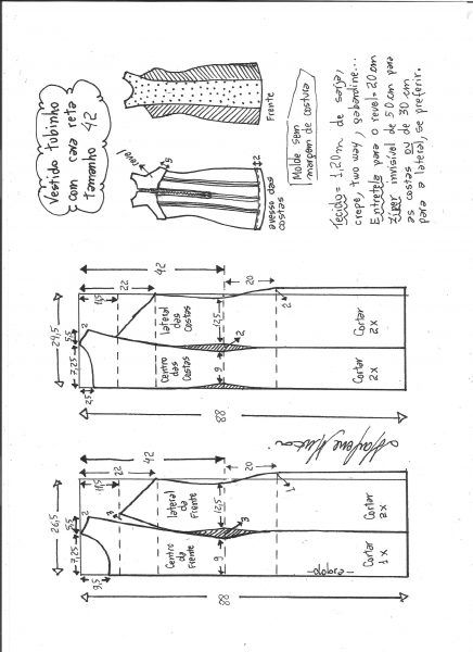 schéma de modélisation robe petit tube taille de cava droite 42.