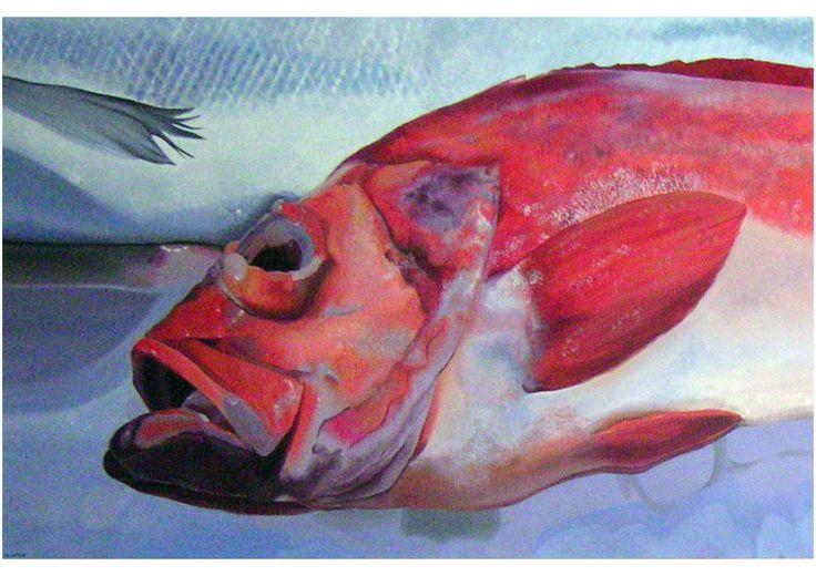 Monica Peralta. Red fish. Acrilico su tela 150x100