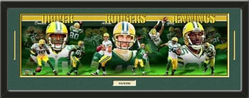 Green Bay Packers Aaron Rodgers, Greg Jennings, And Donald Driver Panoramic Composite Photo Collage Framed With Team Color Double Matting & A Name Plaque-Awesome & Beautiful-Must For Any Fan!