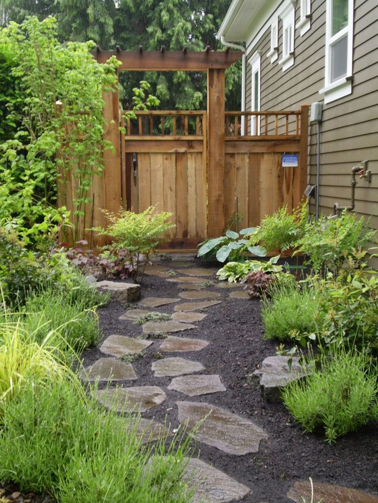 stone path with mulch and plants on either side