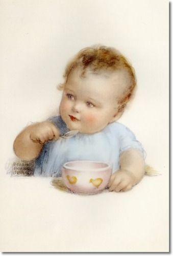 Bessie Pease Gutmann - Tommy Eats All His Porridge from His Little Pink Bowl with Hopes That His Wish will be Granted
