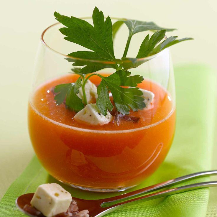Gaspacho de melon et coppa sur cuisineactuelle.fr.