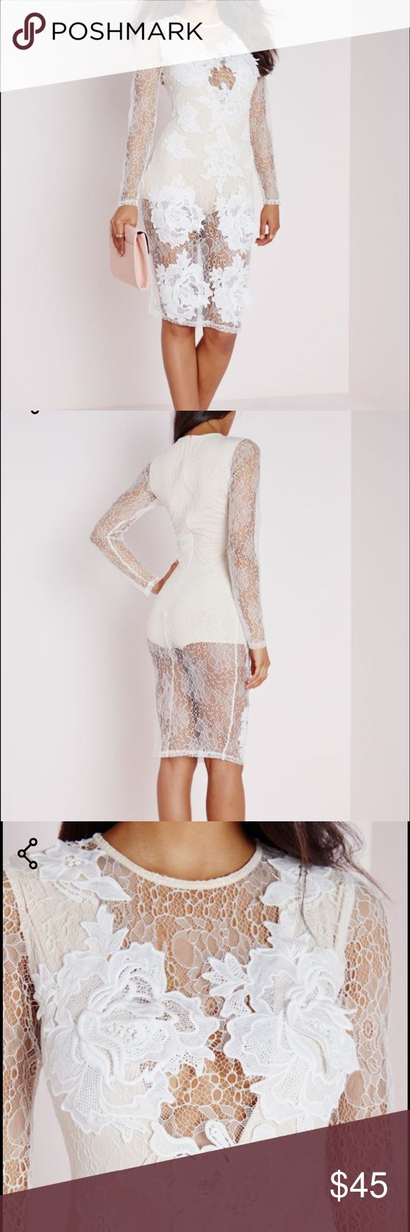 NWT Missguided lace dress GORGEOUS Missguided dress. Never worn! Tags are still attached! Nude leotard underneath is included. Truly a stunning dress! This dress does have a little stretch to it so it does run a bit small. Missguided Dresses Midi