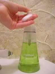 Make your own foaming hand soap!  If you already have a foaming hand soap dispenser, DON'T THROW IT OUT.  When your purchased foaming soap is empty, simply refill it with ....    1 Teaspoon of your Favorite Liquid Soap or Dish Washing Liquid  ...and fill the rest with Water!    Shake it up to dilute the soap and you now have a completely refilled foaming soap!  (from the fake-it-frugal website)