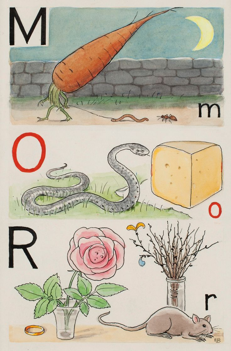 "ELSA BESKOW, ""M-morot, O-orn och R-ros"". Signed E.B. From "" Vill du läsa I"", page 2, picture 2, 3, .... - The Spring Classic Sale, Stockholm 562 – Bukowskis"