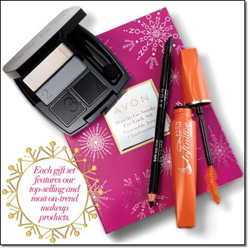 DARE TO GO SMOKY EYE LOOK GIFT SET Everything she needs to create a daring, smoldering smoky eye look! Comes in a gift box. Includes: • True Color Eyeshadow Quad in Urban Skyline, .176 total oz. net wt. • Kohl Eye Liner in True Black, .038 oz. net wt. • SuperExtend Infinitize Mascara in Black, .353 oz. net wt. Brochure: $14.99 the 3-piece set  www.youravon.com/catherineborunda