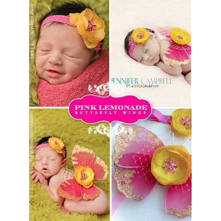 Beautiful summer baby gift: Pink Lemonade Baby Wings & Headband Set! SWEET!   Shop this style & more: http://leelee.ca/retail/index.php?route=product%2Fproduct&product_id=67  #BabyGirlGifts #BabyPhotoProps #BabyWings #BabyGiftSets #PinkBabyWings #WingsAndHeadbandSet #GorgeousShowerGifts #UpscaleBabyGoods #HandmadeBabyGoods #LeeLeeDesigns