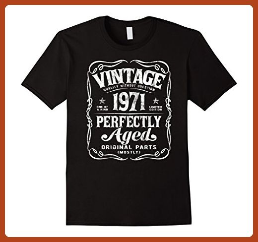 Mens Vintage Made In 1971 T-Shirt 46th Birthday Gift Large Black - Birthday shirts (*Partner-Link)