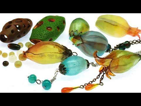 Hollow beads/ Translucent Fimo and Translucent Pardo clay